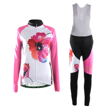 TVSSS Ladies's Lengthy Sleeve Fits Smooth Wicking Material Biking Jersey Equipment Pink Flowers Breathable Winter Bike Units Clothes Bicycle