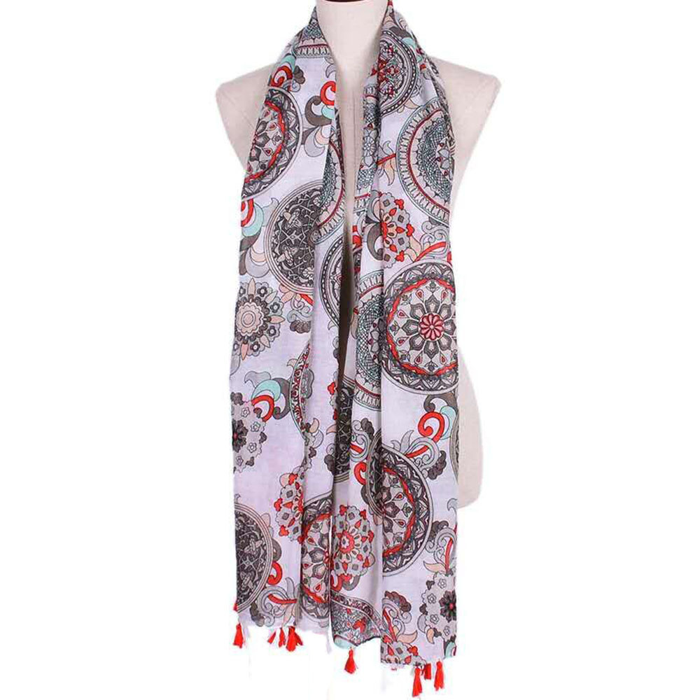 Fashion Lady Womens Scarves Peony Printed Shawl Chiffon Female Scarf for Lady Women Girls in Blue Purple Green Orange Colour