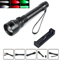 UniqueFire Waterproof Flashlight 1502 Zoom 3 Modes Cree XRE Led (G/W/R) Light 300LM Rechargeable 38mm Convex Lens Torch+Charger