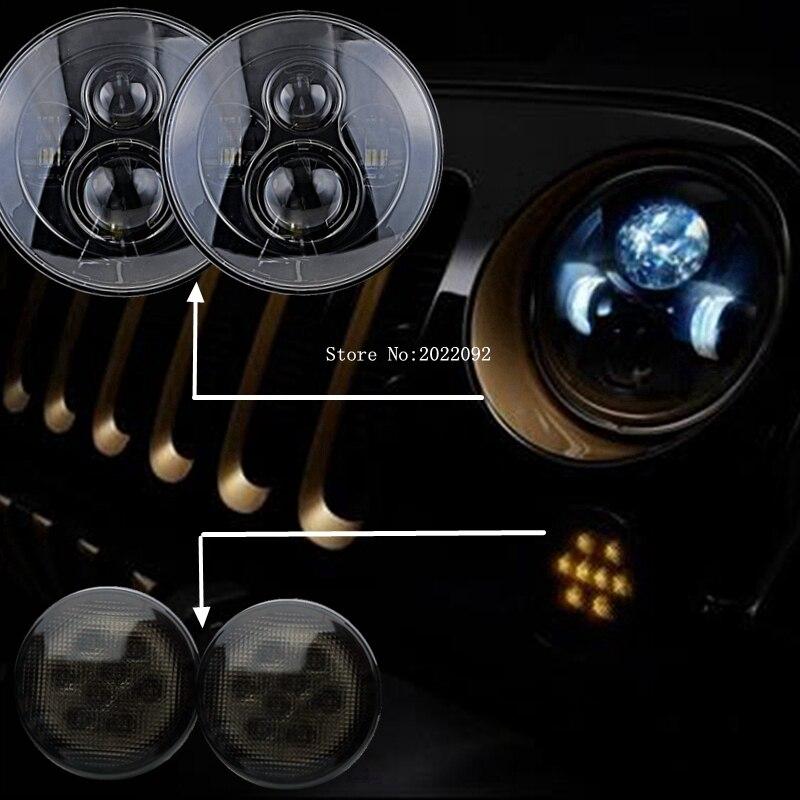 1 комплект 2x круглый Н13 H4 ч/л 40Вт 7-дюймовый 7 светодиодные фары с 2*2000К светодиодный указатель поворота для джип Вранглер