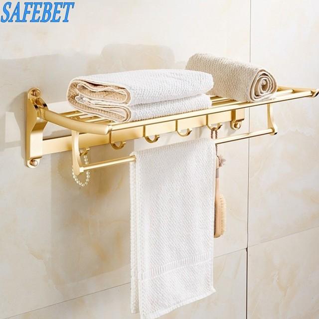 SAFEBET marka różowe złoto łazienka składany wieszak na ręczniki do montażu na ścianie wieszak na ubrania wieszak na ręcznik rama organizator akcesoria łazienkowe