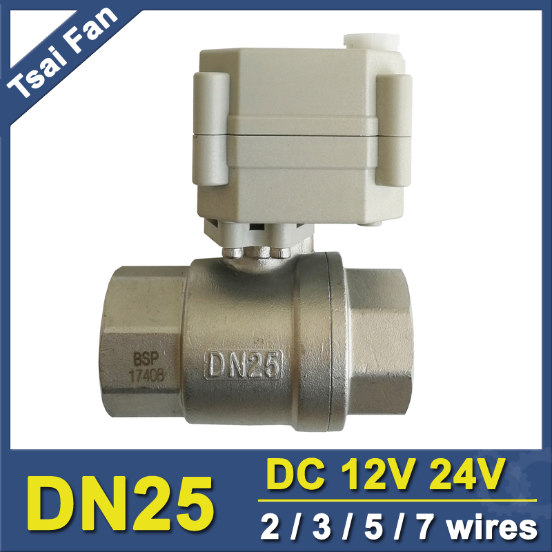 DC12V/24V 2/3/5/7 Wires Electric Motorized Valve With Signal Feedback NPT/BSP 1'' Stainless Steel DN25 Metal Gear High Quality tf20 s2 c high quality electric shut off valve dc12v 2 wire 3 4 full bore stainless steel 304 electric water valve metal gear page 9