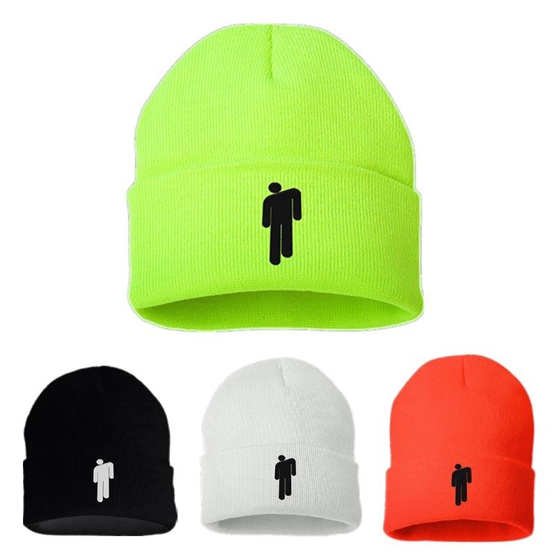 Hot Billie Eilish   Beanies   for Girls Boys Casual Embroidery Knitted Winter Hat Plain Blank Men Women Hip-hop   Skullies   Bonnet Cap