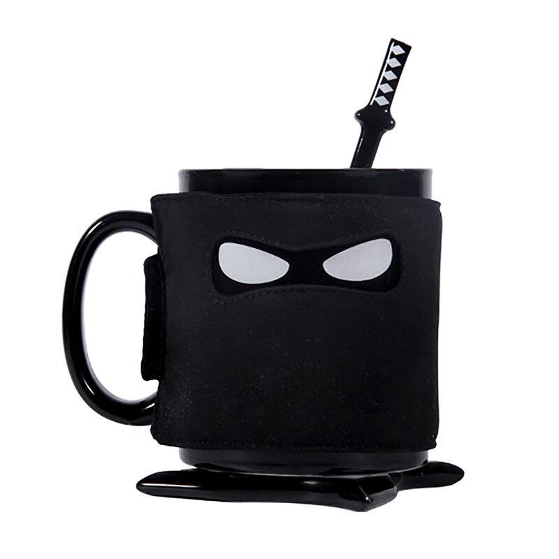 JOUDOO Creative Ninja Mug Black Mask Ceramic Cup With Spoon Sword Coffee Milk Tea Mugs Milk Coffee Tea Cup Mugs 35 in Mugs from Home Garden