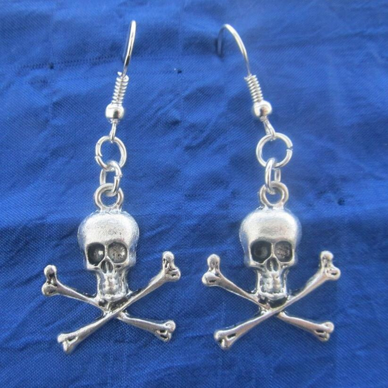 Jewelry-Accessories Charm-Pendant Drop-Earrings Skull Crossbones Holiday-Gifts Silver