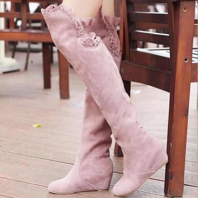 Pelle Scamosciata del Faux Sottile Stivali Sexy sopra il ginocchio alto stivali da neve delle donne delle ragazze dolce autunno inverno coscia alti stivali in pizzo pattini del fiore