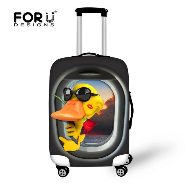 Mulheres Bagagem de Viagem Mala Capa Animal Pato Impressão Elástico Grosso Capa Protetora para 18-30 Polegada Caso 3D Animal Cobertura de bagagem