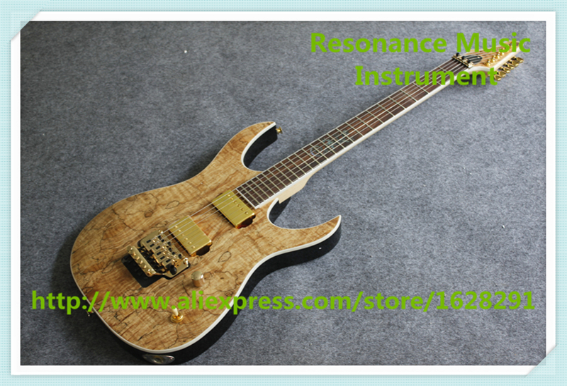 Chinese Shop Natural Wood Finish Electric Guitar With Lizard Inlay & Floyd Rose Tremolo