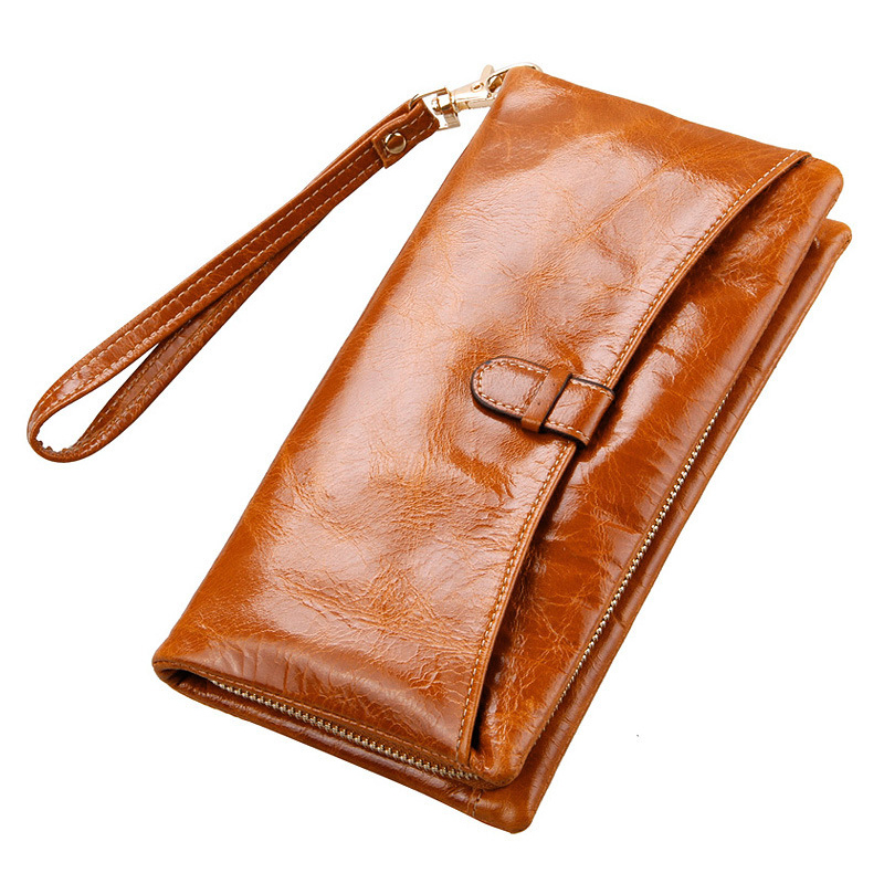 New Arrival Wallet  Lady Multifunctional  Purse Long Style Zipper Oil Wax Cowhide Closure Huge Capacity Fashion Handbag Money Ba women agraffe wallet multifunctional zipper purse long style closure huge capacity fashion hand money bag more card slots for ph