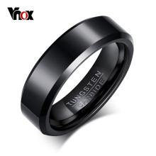Vnox Black Tungsten Carbide Men's Ring Wedding Engagement Ring for Man Jewelry 6mm Wide Anillos