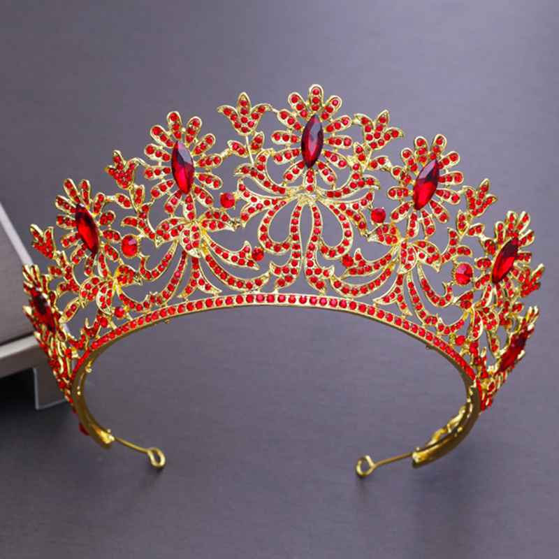 Bridal Tiaras and Crowns Full Crystal Rhinestone Gold Silver Wedding Hair Crown for Women 2018 New Hair Jewelry Accessories 00009 red gold bride wedding hair tiaras ancient chinese empress hair piece