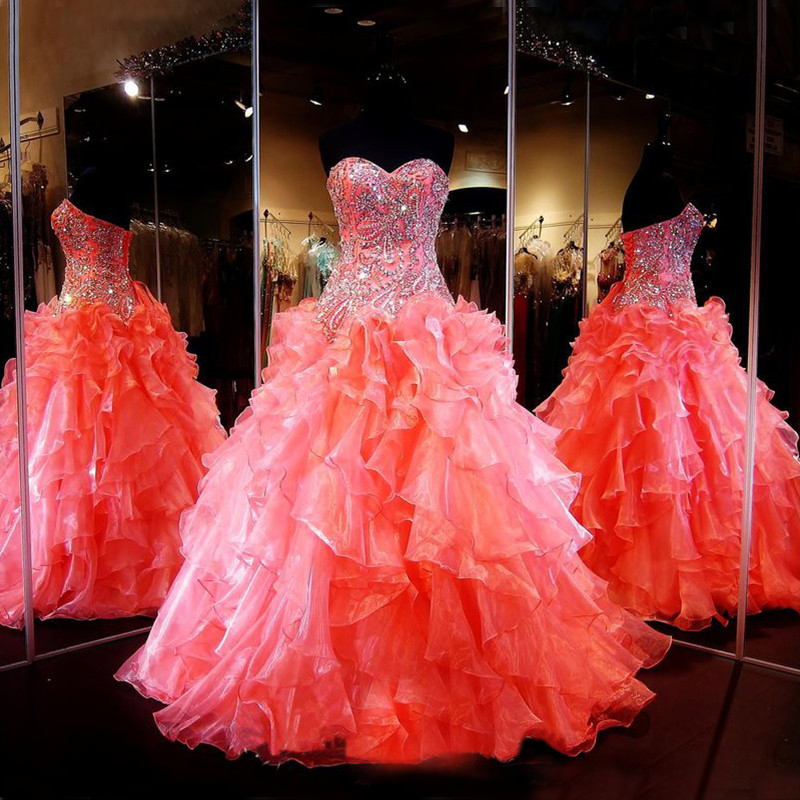Beautiful Ball Gown Crystal Beading Coral Quinceanera 15 years Organz Corset Back vestidos de 15 anos mothe of the bride dresses
