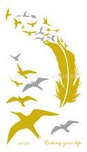 Cute Gold Flash Tattoo Sticker Waterproof Temporary For Men Women Bird Feather Metallic Tattoos VH0239