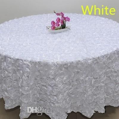 Wholesale 120 Inches White Color Wedding Table Cloth Round