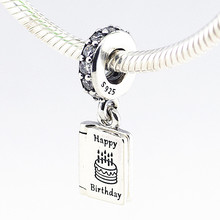 Birthday Wishes Charms with Clear CZ 925 Sterling Silver Pendant Fine jewelry Fits Charm Bracelets & Necklaces Diy PF264