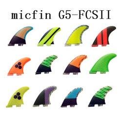 Fibra de vidro micfin e favo de mel prancha fin thruster fcs 2 barbatanas surf futuro fcs 1 fcs ii caixa tamanho m três conjunto