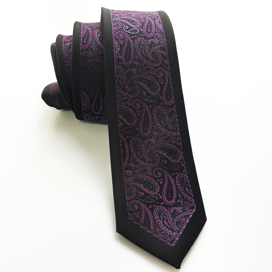 Slim tie - Woven Jacquard silk in solid magenta purple Notch c3v77S3