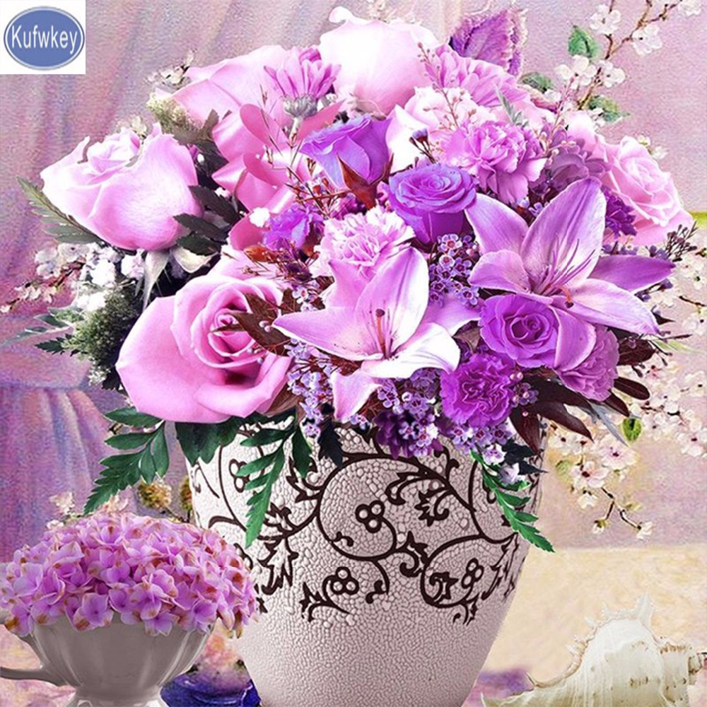 Diamond studded home decor diamond embroidery, launched in with a new 5D DIY diamond painting purple rose vase