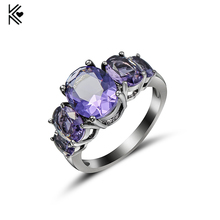 Light Purple Zircon Female Oval Ring Black/White Gold Filled Wedding Party Engagement Finger Rings For Women Fashion Jewelry