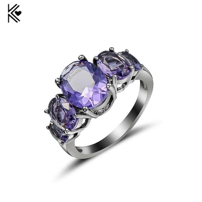 แสงสีม่วง Zircon หญิงแหวนสีดำ/สีขาวทองงานแต่งงานแหวนหมั้นแหวนแฟชั่นเครื่องประดับ