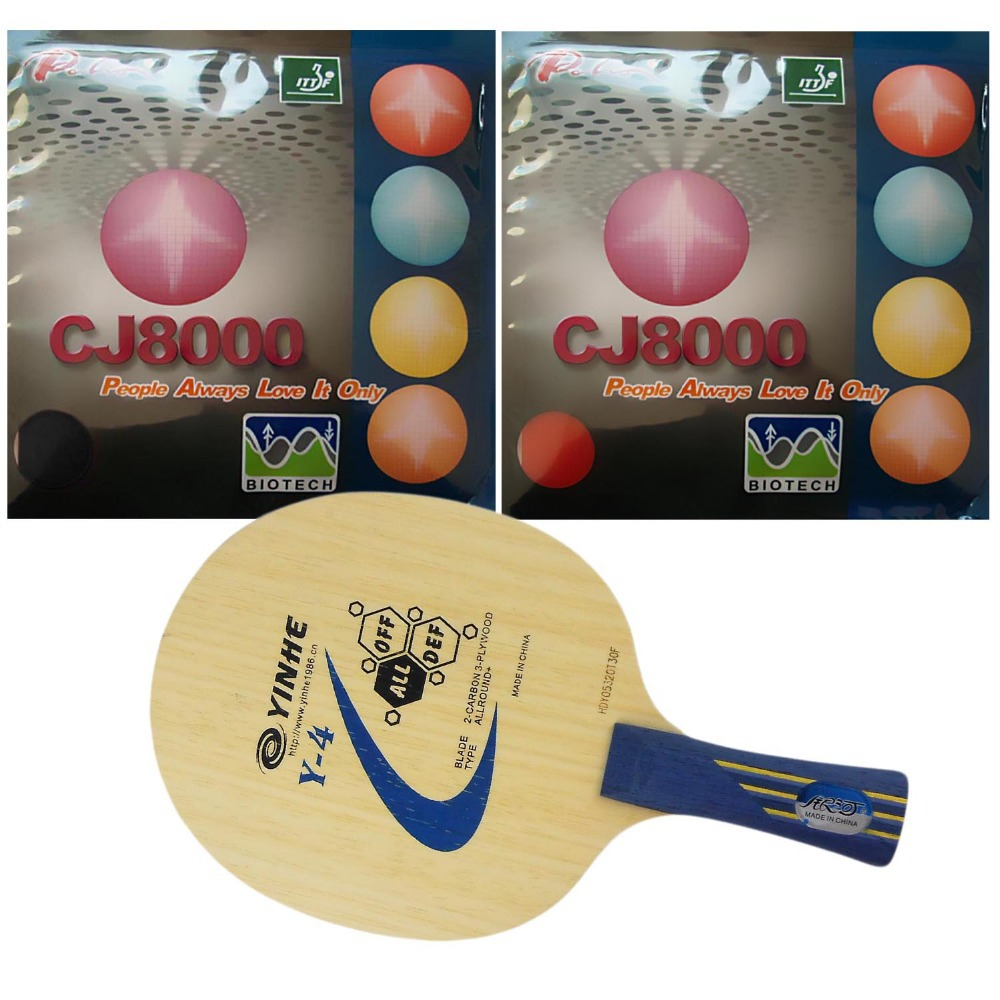 Pro Table Tennis Combo Paddle / Racket: Galaxy YINHE Y-4 with 2x Palio CJ8000 (BIOTECH) 2-Side Loopshakehand Long Handle FL galaxy yinhe emery paper racket ep 150 sandpaper table tennis paddle long shakehand st