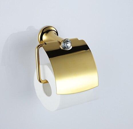 Бесплатная доставка золотой Clour ролл держатель с крышкой туалетной бумаги