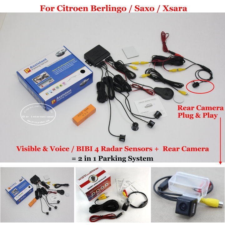 ФОТО For Citroen Berlingo / Saxo / Xsara Car Parking Sensors + Rear View Camera = 2 in 1 Visual / BIBI Alarm Parking System
