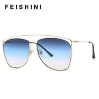 FEISHINI знаменитости солнцезащитные очки высокого качества Для мужчин ретро брендовый Дизайн Женские поляризационные солнцезащитные очки с ...