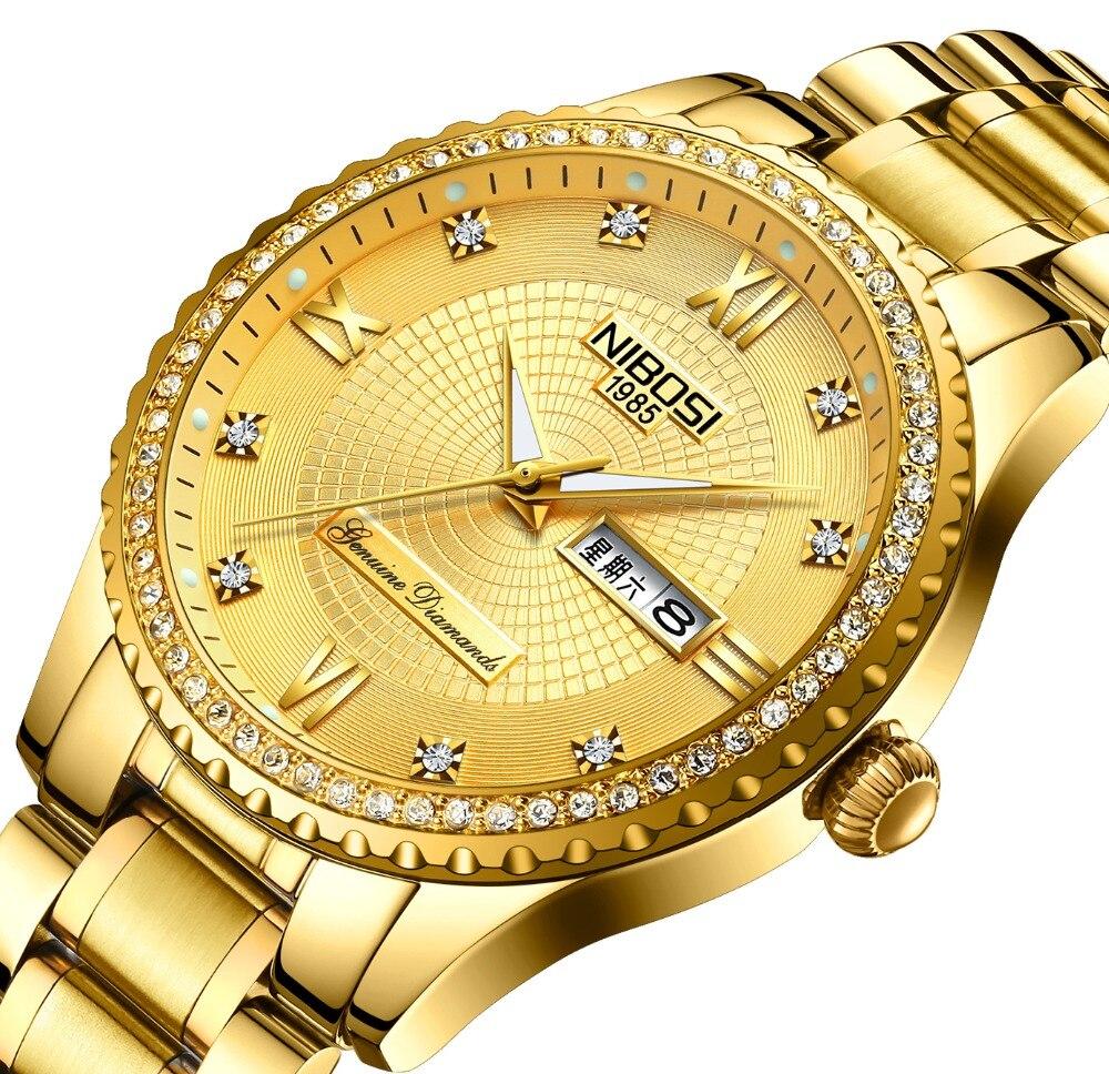NIBOSI 2018 New Luxury brand For Men Square Waterproof Gold Watch Quartz Sport Watch Stainless Steel Watch