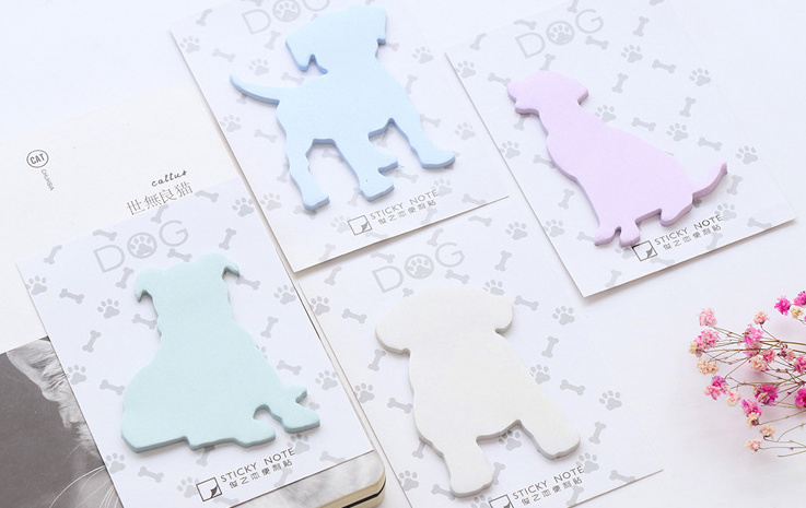 4pcs kawaii Solid color dog Self-Adhesive Memo Pad Sticky Notes Post It Gift Stationery school office supply Escolar Papelaria