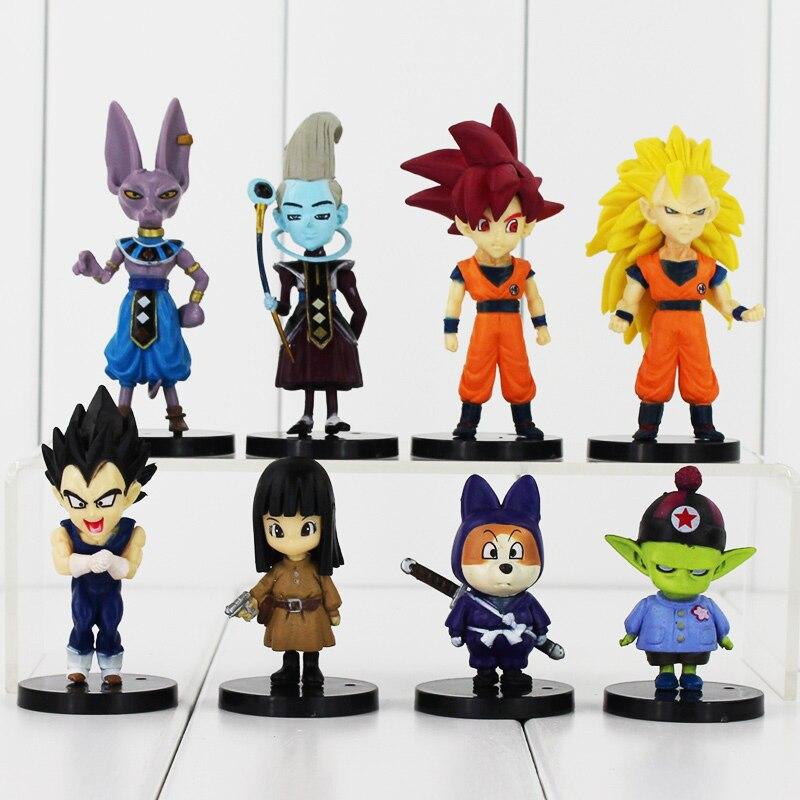 8pcs/lot Dragon Ball Battle Of Gods Bataille Des Dieux Goku Vegeta Picollo Daimao Gohan PVC Action Figures Toys Decoration Gift