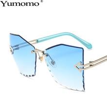 Polygonal Frameless Sunglasses Women Fashion Sexy Retro Trimming Oversized Frame Blue Purple UV400 Oculus Feminino Eyeglasses