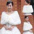 Inverno Inverno Mulheres Nupcial da Pele do Falso Casamento Wraps Bolero De Pele Branca Curta Estolas Jaquetas Para O Baile Vestidos de Festa À Noite