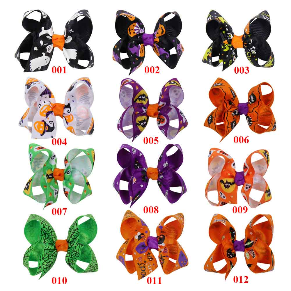 AHB Halloween 3 quot Mini Hair Bows Hair Clips for Girls Funny Ghost Pumpkin Print Ribbon Bows Hairpins Kids Festival Party Headwear in Hair Accessories from Mother amp Kids