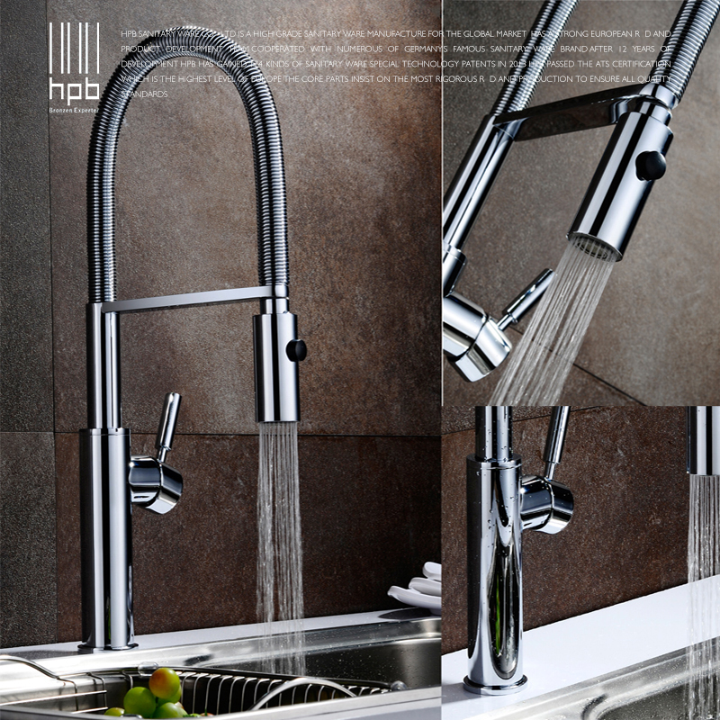 HPB Brass Brushed Chrome Pull Out Rotary Kitchen Faucet Mixer Tap for Sinks Single Handle Deck Mounted Hot And Cold Water HP4105 hpb pull out spray kitchen chrome brass swivel faucet spout sink mixer tap deck mounted hot and cold water single hole hp4102