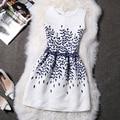 2016 Verão Floral Azul Do Vintage das Mulheres Imprimir vestido de Baile Vestido de Festa Plus Size Vestidos Femenino
