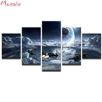 Diy 5d Elmas Nakış Elmas Mozaik Resim 5 Adet Uzay Aracı Manzara