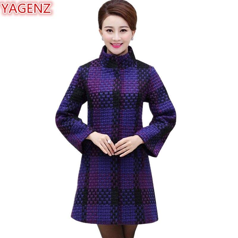 YAGENZ moyen-âge mère veste automne hiver manteau femmes grande taille femmes vêtements manteau longue section simple boutonnage hauts 668