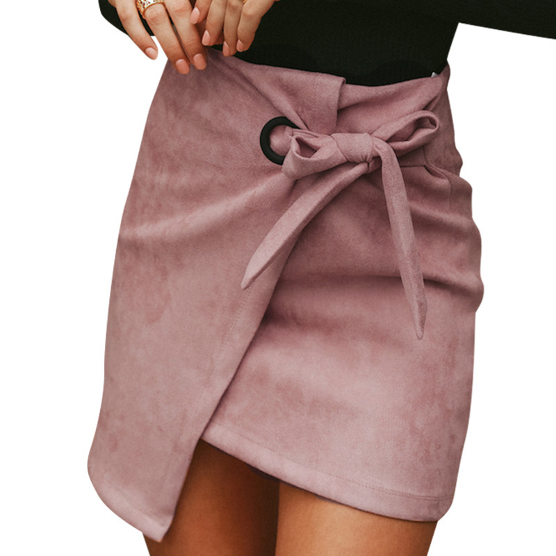 Asymmetrical casual sash bow suede mini skirts women 2018 Autumn Winter skirts female High waist split Pink sexy skirts