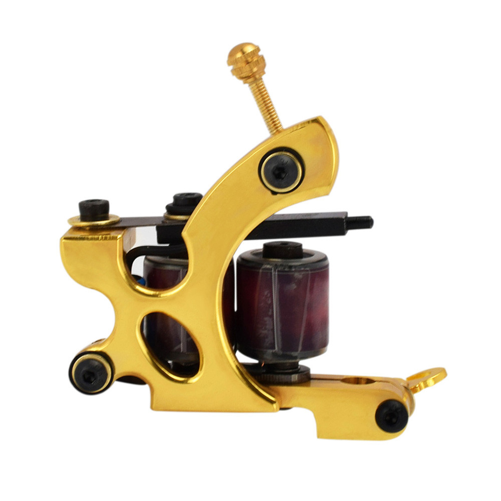 Body Art Tool Tattoo Machine Set Pure Copper Permanent Makeup Handmade 10 Wraps Coils Tattoos Tools Shader Liner HB88 35000r import permanent makeup machine best tattoo makeup eyebrow lips machine pen