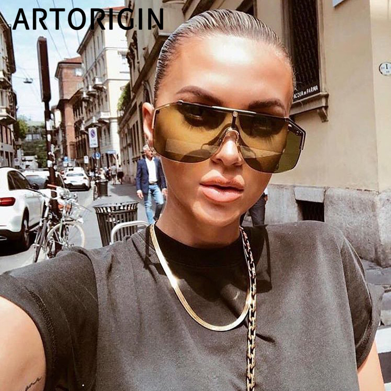 Brand Sunglasses Women Luxury Design Shield Mask Sun Glasses Ins Popular Female Shades Oversize Goggles For 2019 Summer