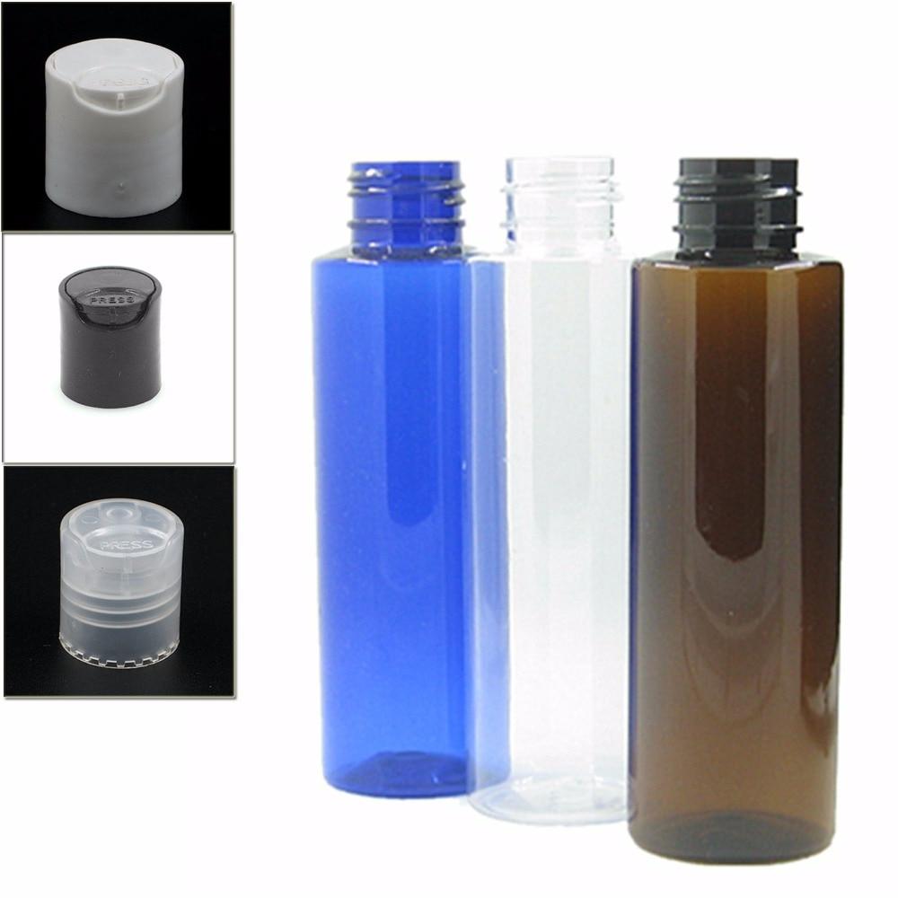 100ml Empty Clear/blue/amber Cylinder Plastic Bottles Pet Bottle With Transparent/white/black Disc Tops Cap X5