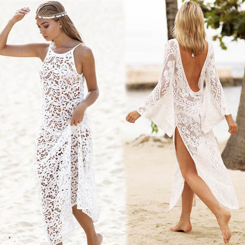 Sexy beach dress Pareo lace backless Beach Cover Up Tunic Hook Cover Up Swimwear Women Robe De Plage Beach Cardigan Cover Ups backless lace up midi bodycon dress