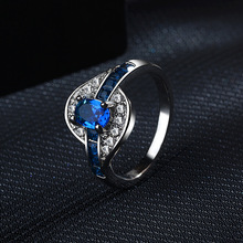 Fashion Blue Sapphire Diamond Finger Rings for Women Sliver S925 Ruby Amethyst Turquoise Jade Anillos De Bizuteria