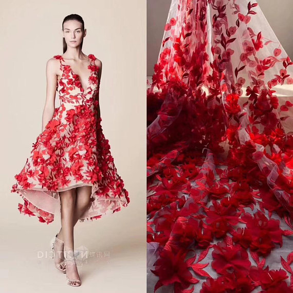 One yard red 3d lace fabric with 3d Chiffon florals, French haute couture, Handmade heavy lace fabric with flowers
