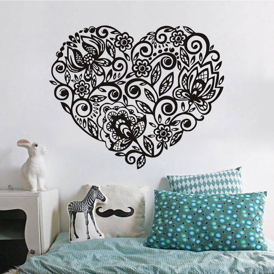 Eyes wall stickers wow modern beauty salon valentine wall decoration - Heart Shape Flowers Pattern Wall Sticker Decals Valentine Adhesive Pvc Wall Paper Girls Women Couples Bedroom