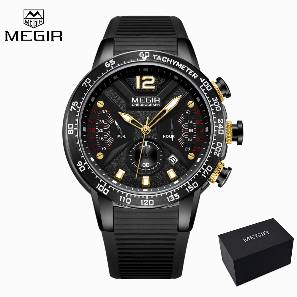 MEGIR 2019 New Fashion Watch Men Black Silicone Band Quartz Military Sport Watch Luxury Brand Wristwatch Mens relogios Gift BoxMEGIR 2019 New Fashion Watch Men Black Silicone Band Quartz Military Sport Watch Luxury Brand Wristwatch Mens relogios Gift Box