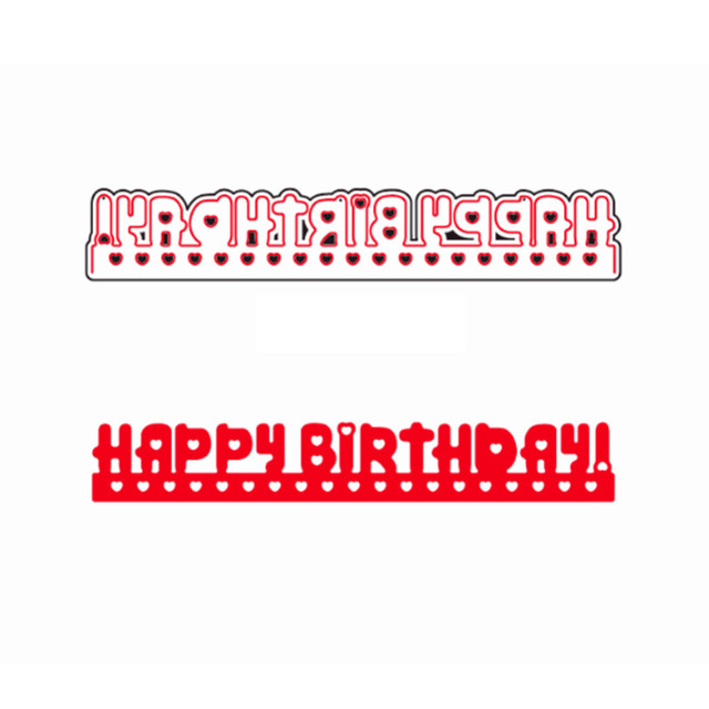 Happy Birthday Word Strip Frame Greeting Card Metal Cutting Dies
