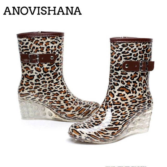 b4bc576434e0 ANOVISHAN Hot High Quality Women Wedges Water Shoes Platform Leopard Rain  boots Women Zip Rain Shoes