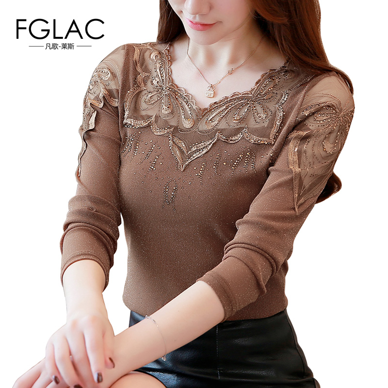 FGLAC Women   blouse     shirt   Fashion Casual long sleeve Autumn   shirt   Elegant Slim Patchwork Diamonds   shirt   plus size blusas tops